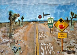 """""""PEARBLOSSOM HWY., 11-18TH APRIL 1986 #1"""" PHOTOGRAPHIC COLLAGE 47 X 64 1/2"""" © DAVID HOCKNEY COLLECTION: THE J. PAUL GETTY MUSEUM, LOS ANGELES"""